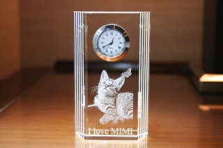 【GLASS CLOCK】サイドラインクロック(透明色) 置き時計 ガラス時計(ガラス製)・I049S