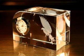 【GLASS CLOCK】ワンコーナーカットクロック(透明色) 置き時計 ガラス時計(ガラス製)・I059