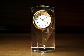 【GLASS CLOCK】ヘキサゴンクロック(透明色) 置き時計 ガラス時計(ガラス製)・I113