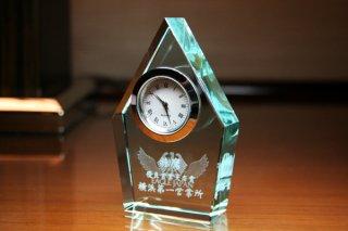 【GLASS CLOCK】FLタワークロック(薄緑色) 置き時計 ガラス時計(ガラス製)・I126