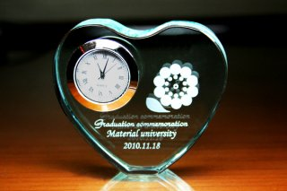 【GLASS CLOCK】FLハートクロック(薄緑色) 置き時計 ガラス時計(ガラス製)・I127