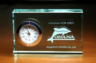 【GLASS CLOCK】FLキューブクロック(薄緑色) 置き時計 ガラス時計(ガラス製)・I128