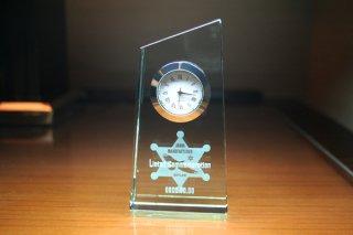 【GLASS CLOCK】置き時計 ガラス時計(ガラス製)・YOB023