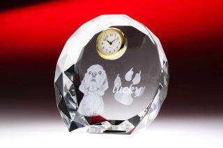 【GLASS CLOCK】置き時計 ガラス時計(ガラス製)・YOB040