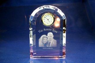 【GLASS CLOCK】チャペルクロック(透明色(底面:ピンク)) 置き時計 ガラス時計(ガラス製)・I022