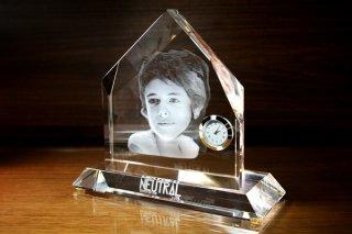 【GLASS CLOCK】置き時計 ガラス時計(ガラス製)・YTR003