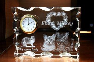 【GLASS CLOCK】カットスクエアクロック(透明色) 置き時計 ガラス時計(ガラス製)・I019