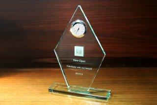 【GLASS CLOCK】置き時計 ガラス時計(ガラス製)・YTR007