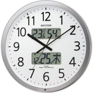 【RHYTHM】掛け時計オフィスクロックプログラムカレンダー403SR(シルバーメタリック色(白))・4FN403SR19