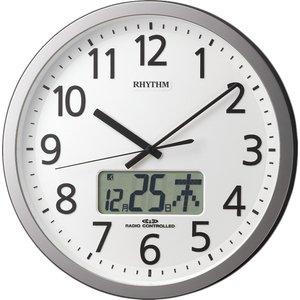 【RHYTHM】掛け時計オフィスクロックプログラムカレンダー405SR(シルバーメタリック色(白))・4FN405SR19