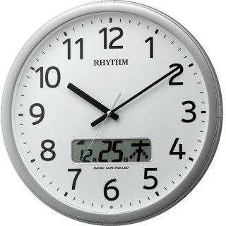 【RHYTHM】掛け時計スタンダードプログラムカレンダー01SR(シルバーメタリック色(白))・4FNA01SR19