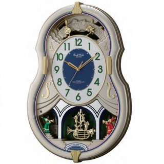 【RHYTHM】掛け時計正時メロディ・報時付スモールワールドカラーズ(シャンペンゴールド色(白))・4MN543RH18