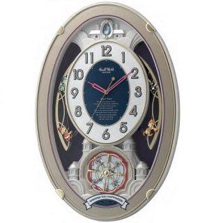 【RHYTHM】掛け時計正時メロディ・報時付スモールワールドウィッシュ(白パール色(白))・4MN544RH18