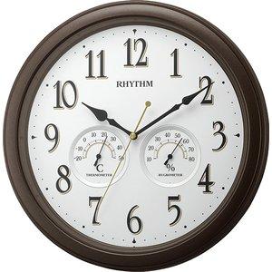 【RHYTHM】掛け時計温湿度計付オルロージュインフォートM37(茶メタリック色(白))・8MGA37SR06