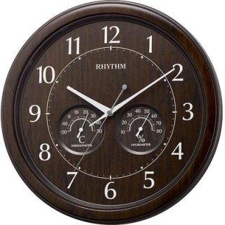 【RHYTHM】掛け時計温湿度計付オルロージュインフォートM38(茶色木目仕上(茶色))・8MGA38SR23