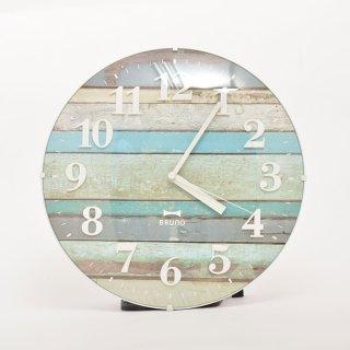 【BRUNO】ブルーノ掛け時計電波ビンテージウッドクロック(ブルー)