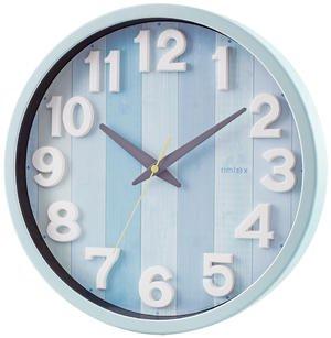 【rimlex】電波時計 インテリアクロック ナタリー(ブルー)・W-658BU-Z