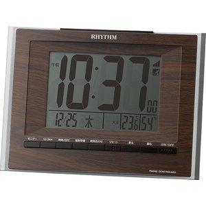 【RHYTHM】デジタル時計掛置兼用電波時計フィットウェーブD172(茶色)・8RZ172SR06