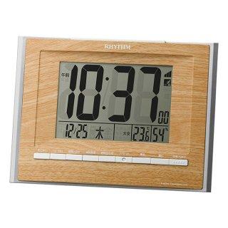 【RHYTHM】デジタル時計掛置兼用電波時計フィットウェーブD172(薄茶)・8RZ172SR07