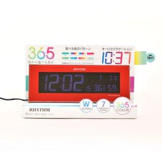 【RHYTHM】電波目覚まし時計グラデーションLED365色Iroriaイロリア(レッド)