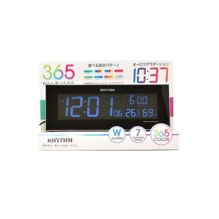 【RHYTHM】電波目覚まし時計グラデーションLED365色Iroriaイロリア(ブラック)