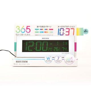 【RHYTHM】電波目覚まし時計グラデーションLED365色Iroriaイロリア(ホワイト)