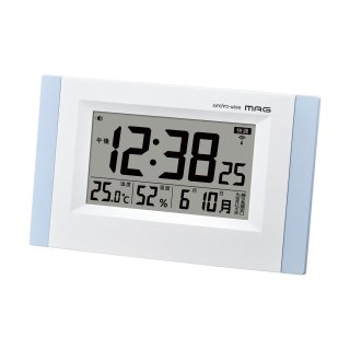 【MAG】電波目覚まし時計 デジタル時計 温湿度計 エアサーチブリックス(ライトブルー)