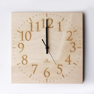 【ヤマト工芸】掛け時計MUKU-スタンダード数字-(ナチュラル)・YK14-101