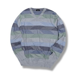 [USED] FRANCESCO MORRI MULTI BORDER V-NECK KNIT