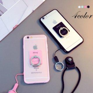 リング付き iPhoneケース パステル 指掛け スタンド スケルトン iPhoneX iPhone8 iPhone7 iPhone6 iPhoneSE スマホ ケース カバー