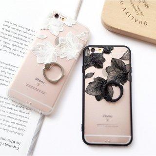 iPhoneケース レース フラワー 花柄 バンカーリング付き スタンド 落下防止 クリア iPhone6 iPhone7 iPhone8 スマホケース スマホカバー
