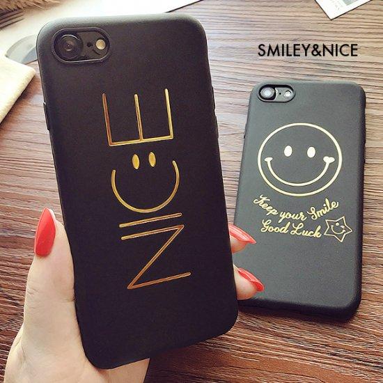 iPhoneケース Smiley スマイル ブラック ゴールド 高級感 NICE ナイス iPhoneX iPhone8 iPhone7 iPhone6 ペアでも人気 お揃い カッ…