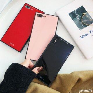 iPhoneXS Max XR iPhoneX iPhone8 iPhone7 iPhone6 TPU スマホ カバー ケース スクエア ミラー 光沢 鏡面 四角 ハード 高級感