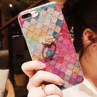 iPhoneケース ステンドグラス風 リング付き ラメ キラキラ グリッダー iPhoneX iPhone8 iPhone7 iPhone6 虹 レインボー スマホケース スマホカバー 送料無料