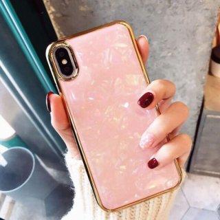 iPhoneケース シェル ホログラム マーブル ピンク ゴールド フレーム 金の縁 iPhoneXR iPhoneXS iPhone8 iPhone7 iPhone6S
