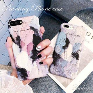 iPhoneケース 絵画風 パステル ペイント 油絵 アート iPhoneX iPhone8 iPhone7 iPhone6 ブルー ピンク スマホ ケース カバー TPU 送料無料