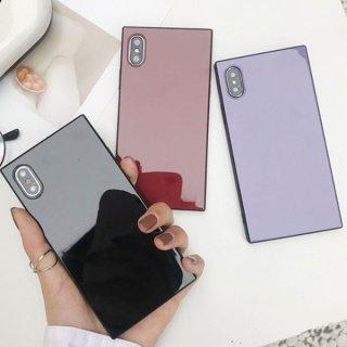 iPhoneケース スクエア 四角 iPhoneXS iPhoneXR iPhone8 iPhone7 iPhone6S プラス plus 携帯 スマホ ケース カバー 鏡面 ミラー
