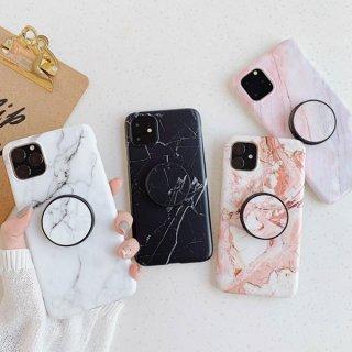 iPhoneケース グリップトック iPhone11 Pro iPhoneXS Max iPhoneXR iPhone8 iPhone7 iPhone6S 大理石柄 スタンド カバー マーブル