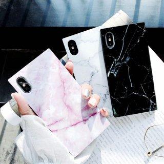 iPhoneケース XR XS 8 スクエア 大理石柄 iPhoneXS iPhoneXR iPhone8 7 6S プラス plus 携帯 スマホ ケース カバー マーブル 四角
