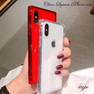 携帯ケース iPhoneXS iPhoneX iPhone8 iPhone7 iPhone6 6S プラス plus スマホ ケース カバー スクエア クリア 透明 スケルトン アイフォン アイホン