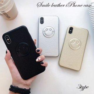 iPhoneケース XR XS 8 ニコちゃん レザー iPhoneXS iPhoneXR iPhone8 7 6S プラス plus 携帯 スマホ ケース カバー 合革 smiley スマイル