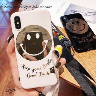 iPhoneケース XR XS 8 にこちゃん スマイル smiley iPhoneXS iPhoneXR iPhone8 7 6S プラス plus 携帯 スマホ ケース カバー ミラー