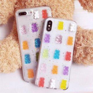 iPhoneケース XR XS 8 クリア 透明 カラフル iPhoneXS iPhoneXR iPhone8 7 6S プラス plus 携帯 スマホ ケース カバー グミ クマ スケルトン