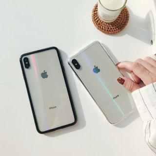 iPhoneケース クリア ホログラム オーロラ 9H 強化ガラス iPhoneXS Max iPhoneXR iPhone8 iPhone7 透明 高強度 スマホ 携帯 ケース カバー
