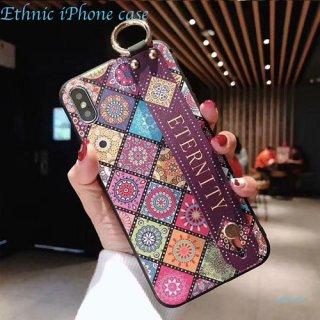 iPhoneケース XR XS 8 エスニック柄 ハンドベルト付き 可愛い おしゃれ iPhoneXR iPhoneXS Max iPhone8 7 スマホ 携帯 ケース カバー