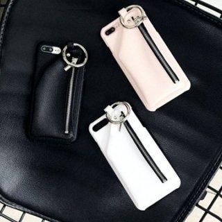 iPhoneケース XR XS 8 ジッパー レザー リング カード収納 ポケット iPhoneXS iPhoneXR iPhone8 7 6S 携帯 スマホ ケース カバー 韓国