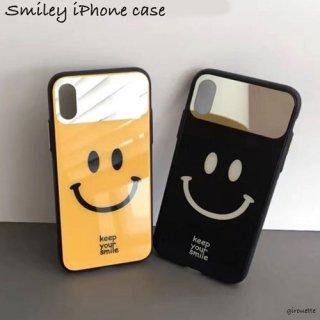 iPhoneケース スマイル ミラー付き 鏡 smiley にこちゃん iPhoneXR iPhoneXS Max iPhone8 iPhone7 スマホ 携帯 ケース カバー