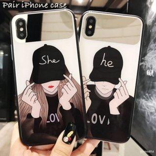 iPhoneケース ペア お揃い カップル 韓国風 オルチャン HE SHE 彼 彼女 iPhoneXR iPhone8 iPhone7 iPhoneXS Max スマホケース 携帯カバー