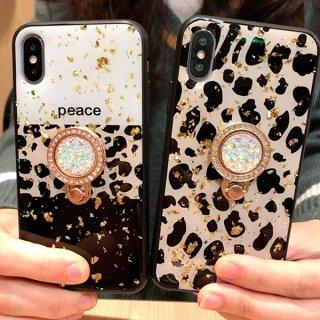 iPhoneケース リング付き iPhone11 Pro iPhoneXS Max iPhoneXR iPhone8 iPhone7 スマホ 携帯 ケース カバー ヒョウ柄 レオパード ラメ キラキラ
