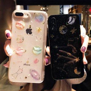 iPhoneケース iPhoneXS Max iPhoneXR iPhone8 iPhone7 スマホ 携帯 ケース カバー おしゃれ クリア 透明 スター 星座